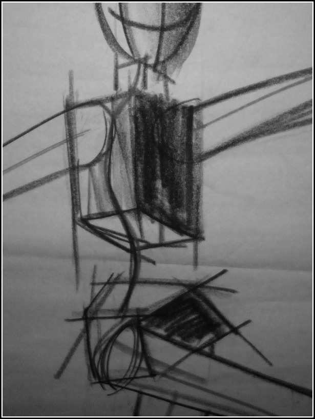 Architecture of the Human Body, conte crayon on newsprint, 24