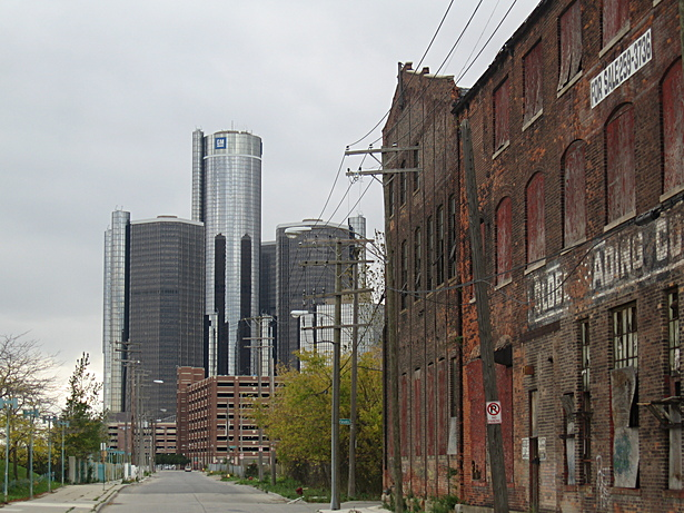 View of Renaissance Center from east side factory district