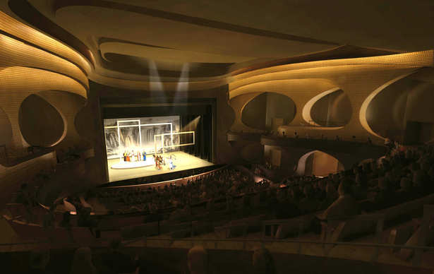View from the auditorium towards the stage inside the Main Theatre