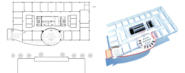 third floor plan + axonometric (AutoCAD, SketchUp)