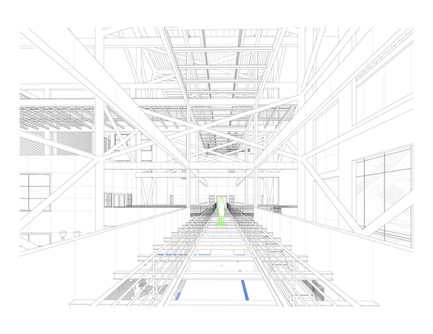 line drawing of the view from the first floor bridge, connecting the buildings
