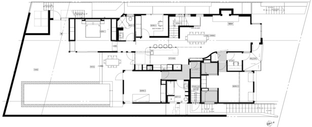 second floor: living, dining, bedrooms, back yard