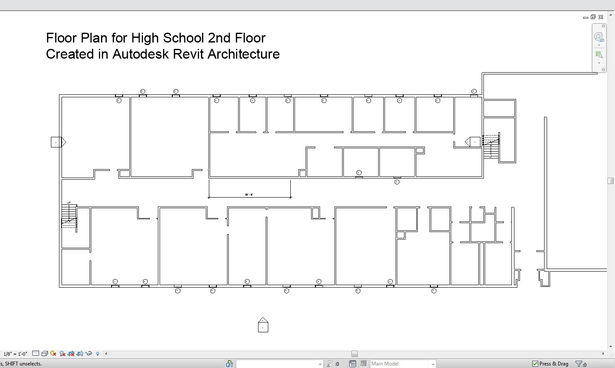 The floor plan of part of a building wing, created in Autodesk Revit