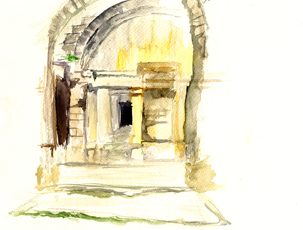 Entrance to Temple of Diana at Nîmes