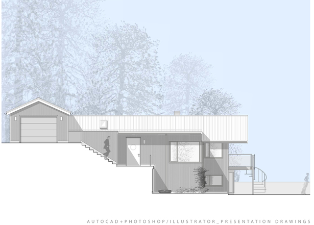 AutoCAD and photoshop presentation drawing: south elevation