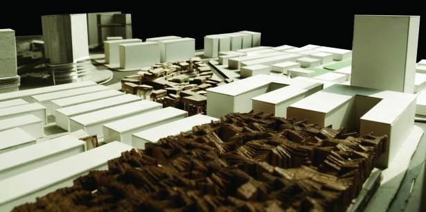 model of project proposal, looking southwest