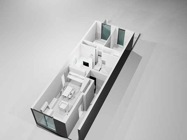 3D image front facade (common areas) towards the back (bedroom area)