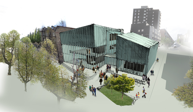 Rendering of Kulturhus from the front entrance and main road, showing the front plaza.