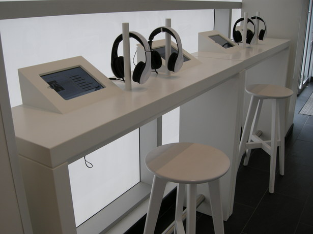 custom solid surface listening bars with integrated iPad holders
