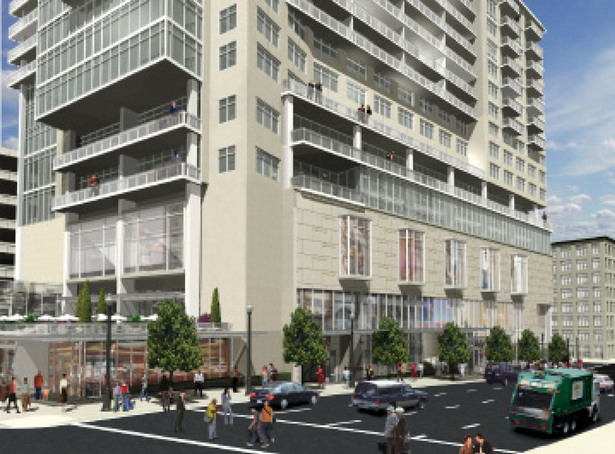 rendering of hotel ground floor, which included living walls