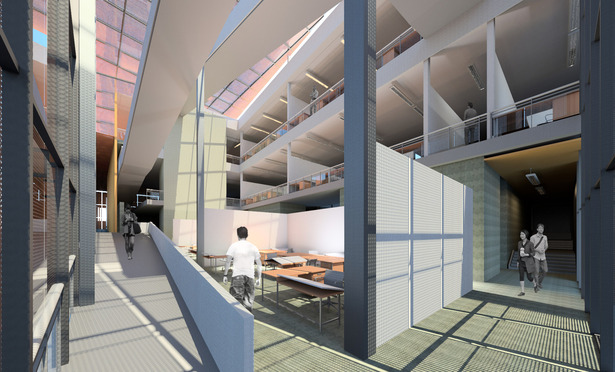 Atrium Space Rendering: Revit Architecture