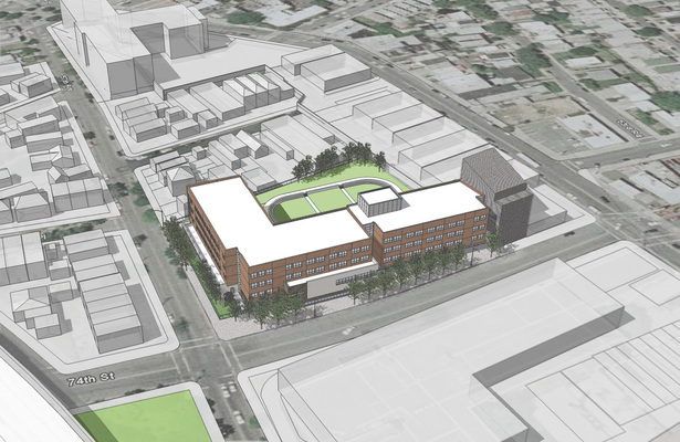 Aerial view of proposed new school