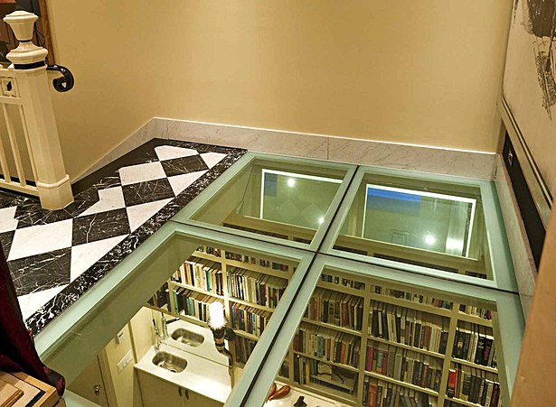Glass floor in landing.