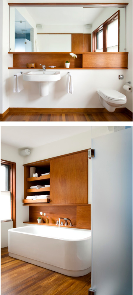 Top: Bathroom View Bottom: Bathtub with open sliding cabinet