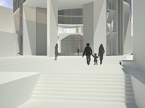 Plaza rendering with entry through abandoned tunnel in background