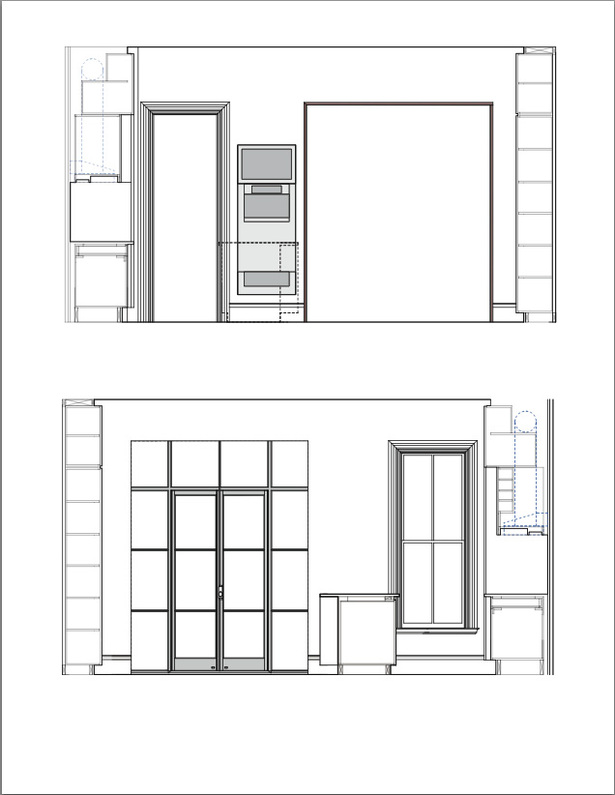 Top: Kitchen Section with view towards front Parlor Bottom: Kitchen Section with view towards Rear Deck