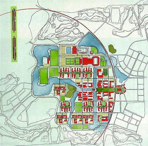Campus Plan with adjacent town plan.