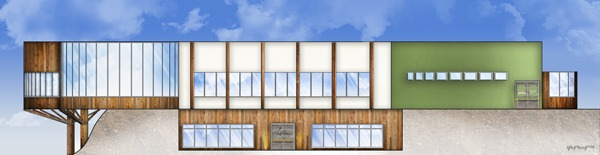 Lotus Wellness Community Exterior Elevation - East: AutoCAD, Adobe Photoshop