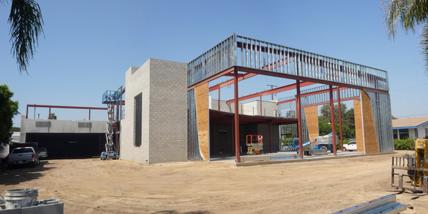Building Shell Steel Infill Framing Under Construction