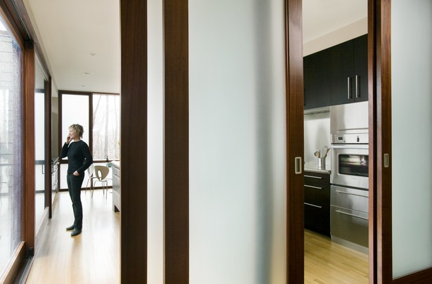 Detail view through translucent doors into kitchen overseeing treetop view