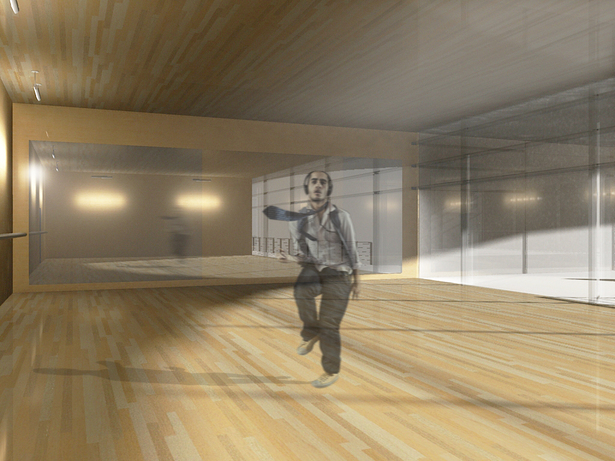 Dance Practice Room - Rendered in Podium and entorage added in Photoshop