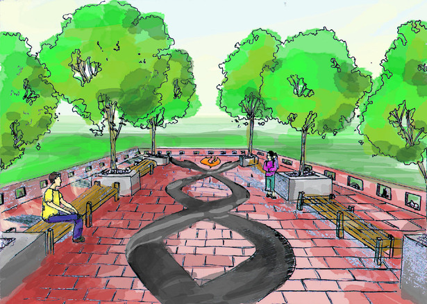 Memorial plaza design (drawn by R. Ham)