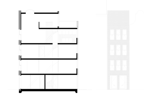 Claus en Kaan Architecten / section and elevation of building n.1