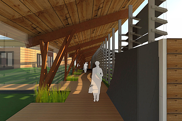 The main corridor system connecting all of the individual buildings. Strong emphasis on the connection to the natural environment and natural materials.