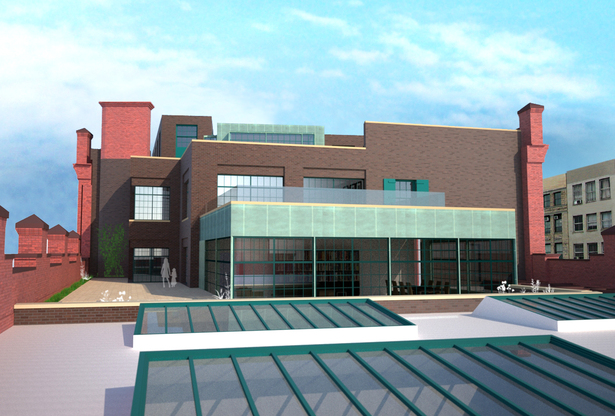 Rendered view of lower roof addition