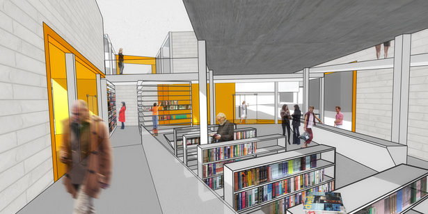 Interior view of the public bookstore and ramp leading to the mediatheque.