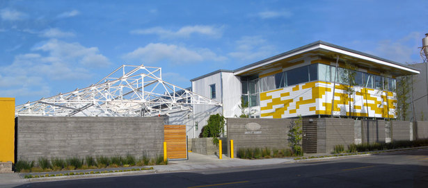 Day view from 7th Street; reclaimed steel and rehabilitation visible on left.