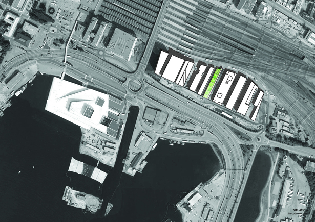 Situation/Barcode roof plan. Copyright © Dark Arkitekter