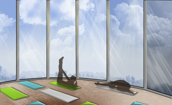 Evolve Fitness Center Yoga Room View: Google SketchUp, Adobe Photoshop