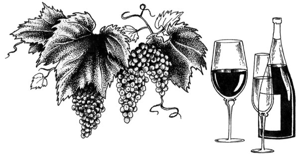 This pen and ink piece adorned the wine menu of a restaurant located in New York City.