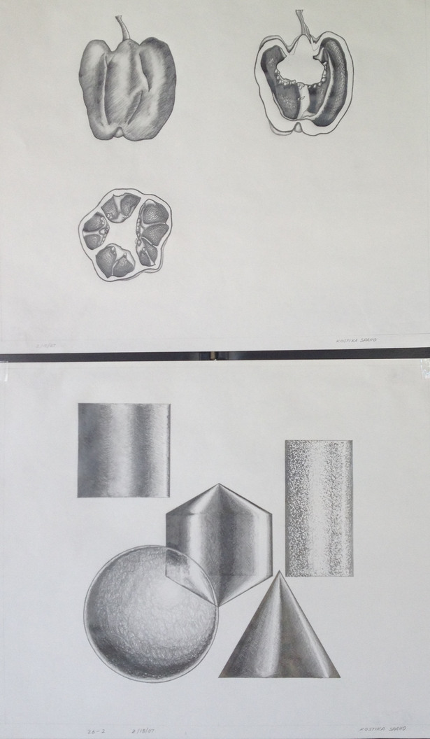 Section and Shading, Pencil drawing