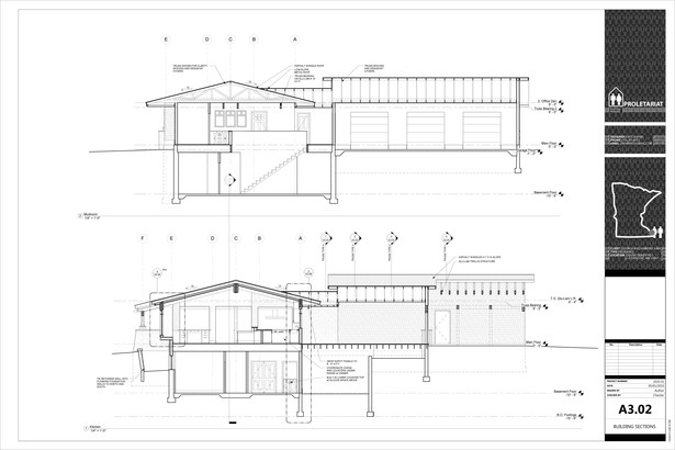 Karr Residence. Construction Drawings. Building Sections.