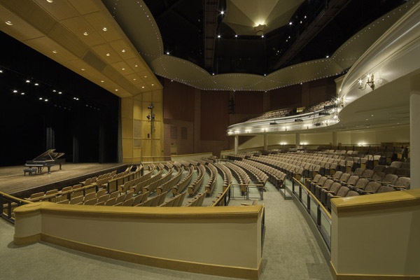 Interior photo of the performance stage and auditorium