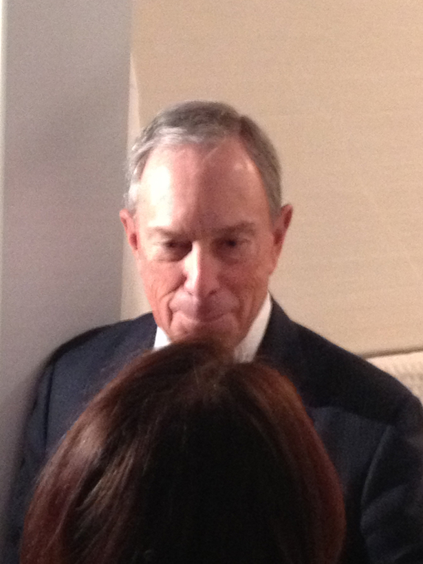 NYC Mayor Michael Bloomberg visiting Minimal USA's GLAM Bathroom at MCNY