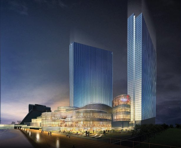 Revel Entertainment with two towers. Currently one tower is built SE view..