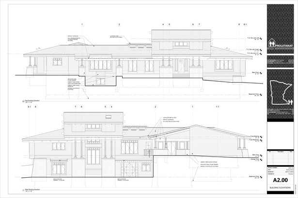 Karr Residence. Construction Drawings. Building Elevations.