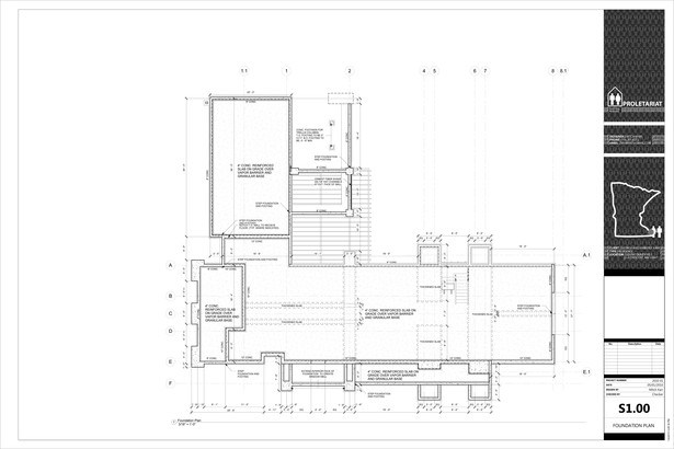 Karr Residence. Construction Drawings. Foundation Plan.