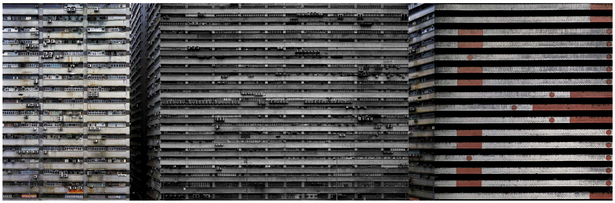Collage of Hong Kong highrise warehouses - original images from Michael Wolf