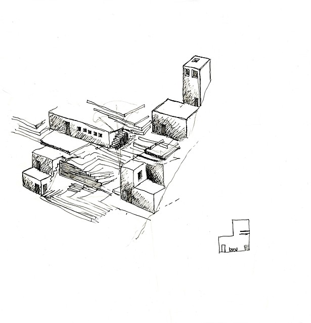 Preliminary sketch of spaces contained within stairs
