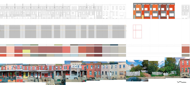 I analyzed the existing rhythms of color and proportion on West Stiles St, and created a facade that both respected and translated these configurations. A rainscreen of terra cotta and fibercement board panels created texture and depth in an affordable way.