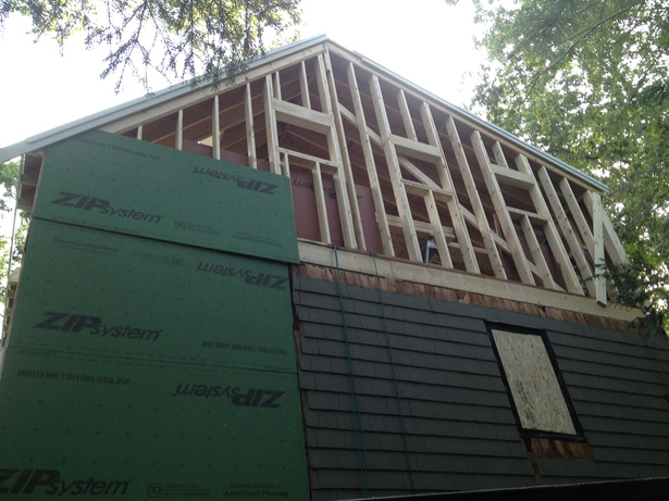 addition above garage- side view