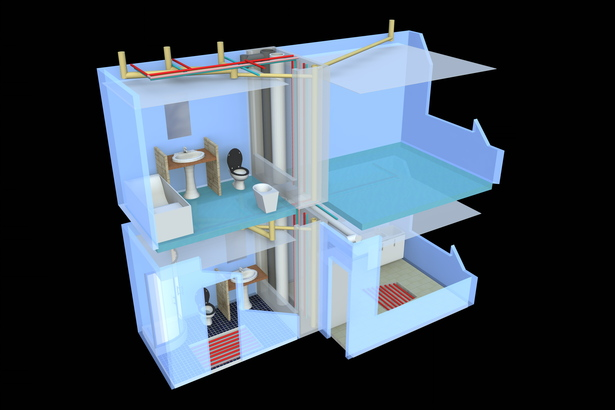 3D view of instalations of a two floor dwelling
