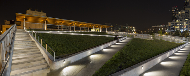Rhythm and Wayfinding- Steplights located in a distinct and staggered rhythm visible from Manhattan