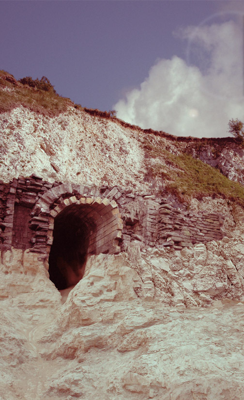 Late 1960's photograph of exposed cistern
