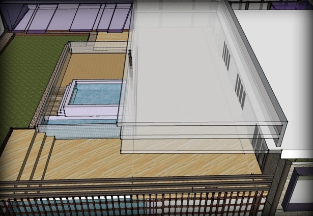 first floor terrace and rooftop garden overlooking swimming pool and jacuzzi at subfloor level