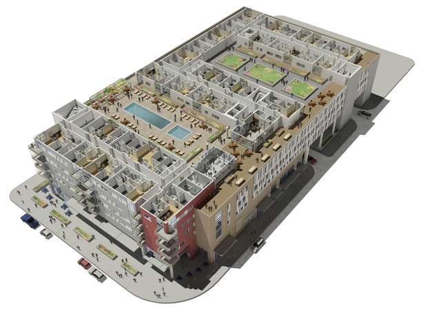 Courtyard Level Cutaway